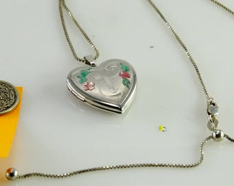 "Sterling Heart Locket on a 20"" Adjustable Sterling Chain"