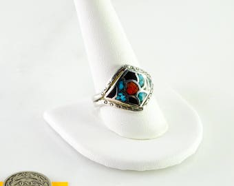 Turquoise Coral Inlaid  Sterling Ring Size 11