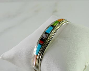 "Inlaid Sterling Cuff Bracelet Signed ""T B"""