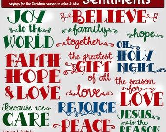 Christmas Sentiments Clip Art Download