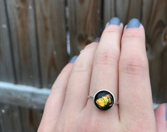Dichroic Glass Ring. Single Stone Ring. Fused Glass. Glass Jewelry. Orange Glass. Sterling Silver Ring. Size 7.5