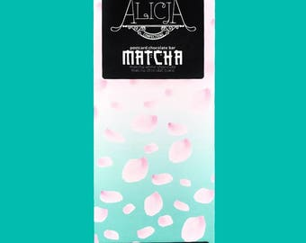 Matcha - White Postcard Chocolate Bar - Handmade, Artisan, 100 grams, Unique Flavors - Green Tea, Matcha Powder, Japan, Earthy, Vanilla