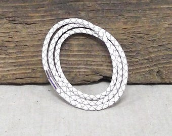 "Triple Wrap 3mm Braided Leather Bracelet in White - 20 1/2"" Length - Bracelet/Necklace - Magnetic Clasp"