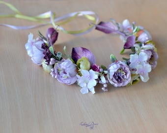 Flower crown Purple Bridal floral hair wreath Dusty Peony crown Bridesmaid headpiece Wedding halo Maternity photo shoot crown Purple green