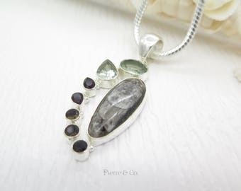 Green Amethyst Orthoceras Fossil and Smoky Topaz Sterling Silver Pendant and Chain