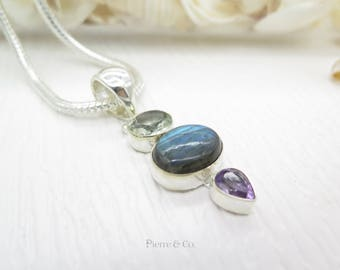 Blue Fire Labradorite Green Amethyst and Amethyst Sterling Silver Pendant and Chain