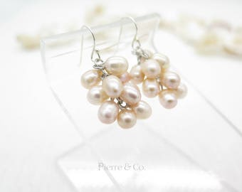 Champagne Fresh water pearls Sterling Silver dangle Earrings