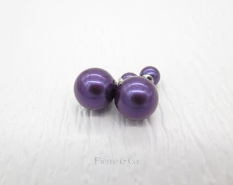 Purple Mother of Pearl Sterling Silver Stud Earrings