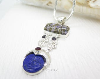 Pyrite Charoite Crafted Lapis Lazuli Sterling Silver Pendant and Chain