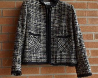 Chanel style jacket,Brown grey jacket, Vintage tweed wool blazer, Size 12 jacket, Autumn coat, Fall jacket, 80s jacket