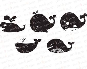 Whale SVG - Whales SVG - Whale DXF - Whale Cut Files - Whale Clipart - Whale Bundle - Whale Graphics Bundle - Whale Vector