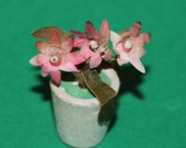 Vintage Dolls House Pink Flowers In A Plant Pot