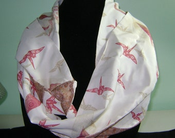Patchwork Boro Silk Infinity Fall Scarf with Red Cranes on Cream Background and White Puff Flowers on Red Patterns