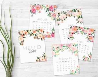 2018 printable calendar - Monthly Wall calendar - Floral 2018 calendar - Watercolor art calendar -  Printable christmas gift - Women gifts
