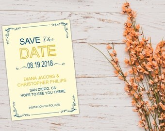 Blue and Yellow Save the Date Template/Printable Modern Save the Date Postcard/Classic Save the Date Announcement/Retro Mark the Date