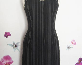 Black pinafore with white stripes original neckline dress