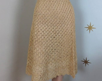 Vintage 1950s VOLUP cream raffia scalloped swing hula skirt large/XL 61