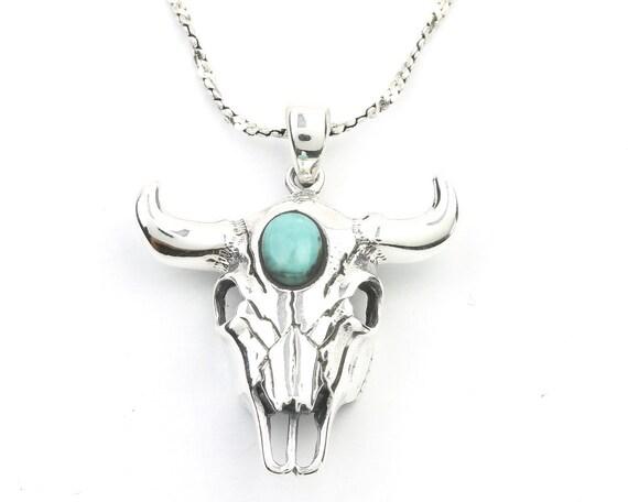 Sterling Silver Bull Skull Turquoise Necklace, Cow Skull, Bones, Animal Skull, Southwestern Jewelry, Turquoise, Spiritual, Boho, Gypsy,