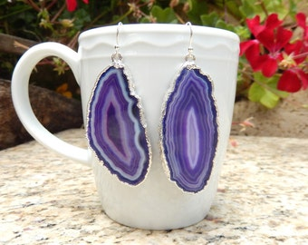 Purple Agate Slice Earrings Boho Geode Slice Silver Electroplate Dangle Large Stone Gypsy Crystal Quartz Free Shipping Jewelry