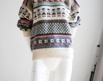 Handmade Wool Sweater | Hand Knitted Jumper | Hand Knitted Sweater | Multicolor Sweater | Handmade | Vintage Wool Sweater |