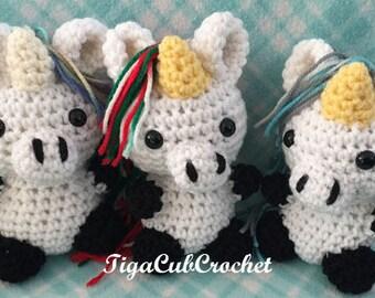 Crochet Small Unicorn Fantasy Mythical Magical Animal Cute Amigurumi Plush Made To Order