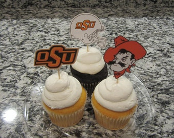 Cupcake toppers, party supplies, OSU, Oklahoma State Cowboys, football, sports