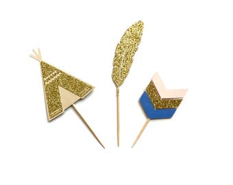 Tribal Toppers - Teepee, Feathers, Arrow, Kidchella Party, Boho, Wild One Party, Tribal Party Decor