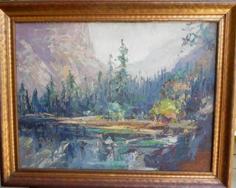 Original Oil Painting, Yosmite's Half Dome and River, Listed Artist Emmerson Lewis, 22.5x28.5