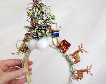 Christmas headband adult, christmas tree headband, ugly Christmas Sweater Party, ugly sweater party decor, reindeer headband, for women