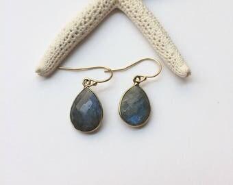 Labradorite earrings, gold teardrop gemstone dangles, bezel dangle drop earrings, bridesmaid gift, gemstone jewelry
