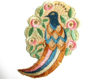 Bird of paradise, Antique Bird Applique, 1930s  Embroidered Bird applique, application, patch. Vintage sewing supply.  #64BGE0KB