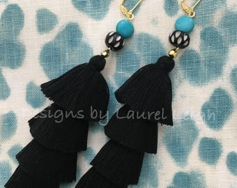 BLACK Layered Tassel Earrings | TURQUOISE, black and white, stacked, tiered, gold, statement earrings, lightweight