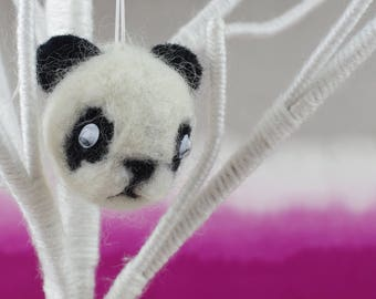 Handmade wool baby panda hanging ornament. Wool pom pom with needle felted detail.