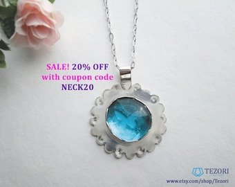 blue sea glass pendant necklace, forget me not flower