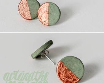 Minimalistischer Keramik Schmuck Victoriagrün/Kupfer Engobe Sterling Silber
