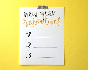 Calligraphy Print - New Year Resolutions - PDF instant download