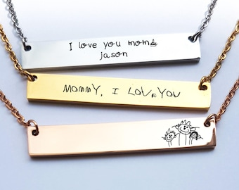 Custom Handwriting Necklace Signature Necklace Engraved Handwriting Bar Necklace Memorial Kids Son Drawing Keepsake Jewelry Mom Gift N13.3