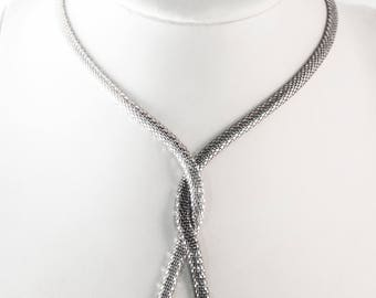 Tie necklace 925 sterling silver guarantees the originality and ruthenium