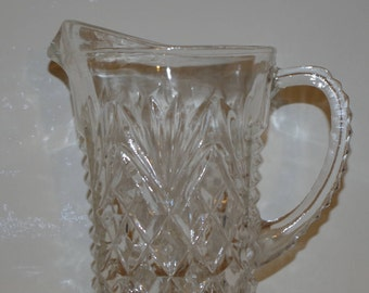 Vintage Anchor Hocking Creamer Pitcher - Vintage - 1960s - Anchor Hocking - Prescut Glass - Creamer - Pitcher - Glass - Retro