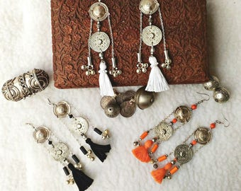 KADIJHA Nomad ethnic Tribal ATS Belly Dance Vintage boho Orange earrings, white, black ∴ ∴ ∴ EMAJARA ∴∴ ∴