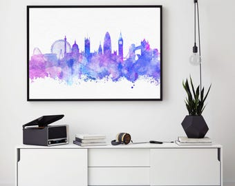 London Skyline Art, England Print, London Wall Art Decor, Great Britain Decor, Watercolour Print, Home Wall Art Decor (N105)