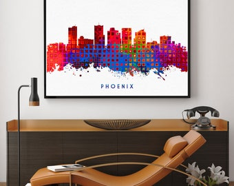 Phoenix Skyline Print, Phoenix Painting, Phoenix Art, Phoenix Wall Decor, Watercolor Phoenix, Arizona Art, Phoenix Theme (N163)