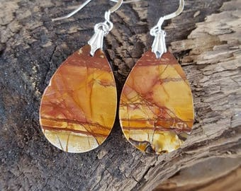 Large Red Creek Jasper and Sterling Silver Earrings, Red Creek Jasper Teardrop Earrings, Large Teardrop Red Creek Jasper Slab Earrings