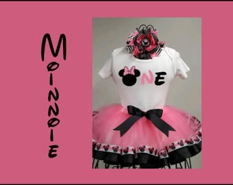 Pink Minnie Tutu Outfit, Minnie Mouse Birthday Shirt, First Birthday Tutu, Girls Ribbon Edge Tutu,  Smash Cake Outfit, Pink and Black Party