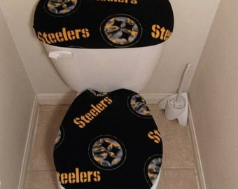 Pittsburgh Steelers Marble Fleece Fabric Toilet Seat Cover Set Bathroom  Accessories (2PC)