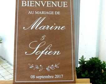 Panneau de bienvenue PERSONNALISABLE .Pancarte personnalisable en bois.Bienvenue mariage