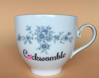 C*ckwomble | Ready To Buy Swear Teacup and Saucer | Funny Rude Insult Obscenity Profanity | Unique Gift Idea