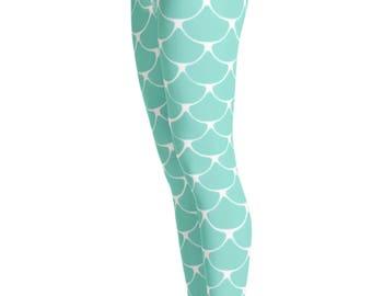 Mermaid Leggings - Mermaid Costume - Halloween Costume - Print Leggings - Fish scale Leggings - Fish Costume - Christmas Gift