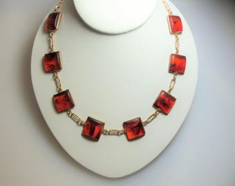Vintage Faux Tortoise Plastic Square Link Gold Tone Necklace Made By Hillcrest