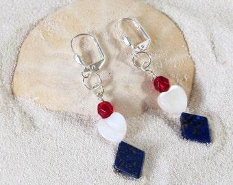 Blue, White and Red Glass Bead Dangle  Earrings - Patriotic Festive Dangle Earrings - Fourth of July Jewelry - Veteran Themed Earrings